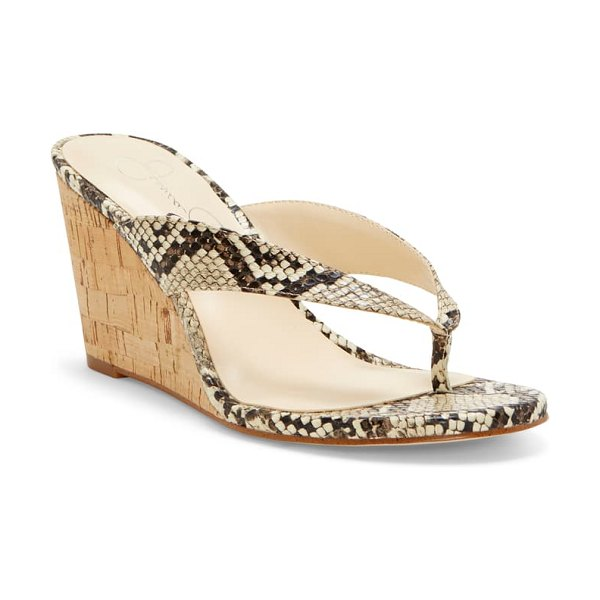Jessica Simpson coyrie wedge flip flop in beige