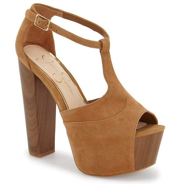 JESSICA SIMPSON dany sandal in honey brown suede - Ultra-chunky wooden platform and heel provide bold...