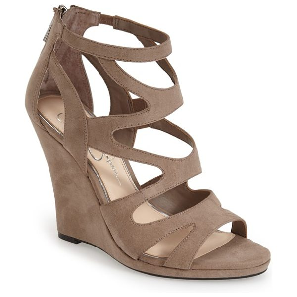 Jessica Simpson delina sandal in slater taupe - This supersoft sandal features a mix of curvaceous...