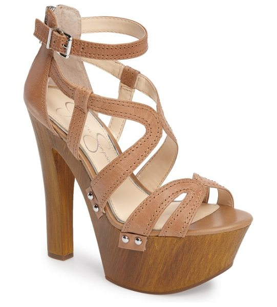 Jessica Simpson dorrin platform sandal in buff leather - An exaggerated rocker-inspired platform adds lift to an...