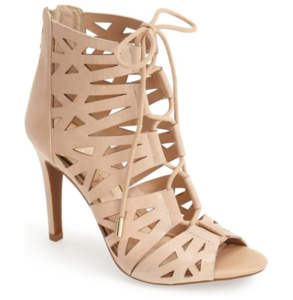 Jessica Simpson emerita laser cutout cage sandal in natural - Crisscrossed laces bridge the open front of a modern...