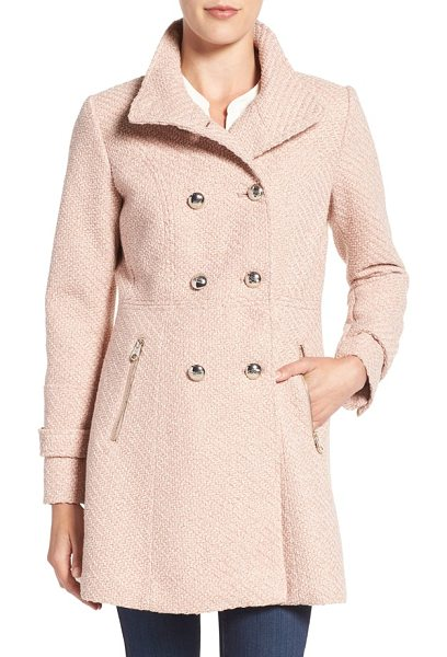 Jessica Simpson fit & flare officers coat in rose