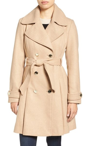 Jessica Simpson fit & flare trench coat in camel - A classic double-breasted trench coat gets a modern...