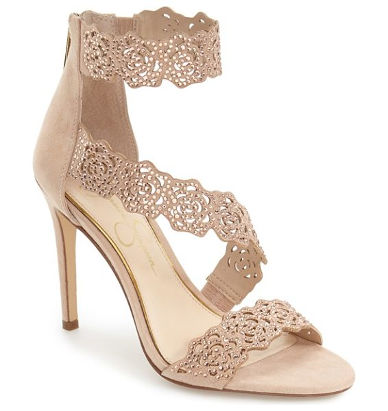 Jessica Simpson 'geela' crystal embellished sandal in powder blush suede - Gorgeous laser-cut rose blooms drenched in sparkling...
