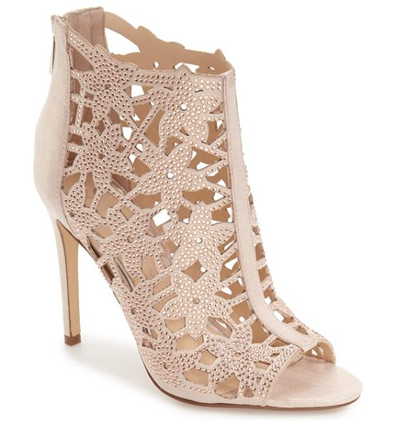 Jessica Simpson 'gessina' studded laser cut bootie in nude blush suede - Sparkly studs detail floral cutouts from the open toe to...