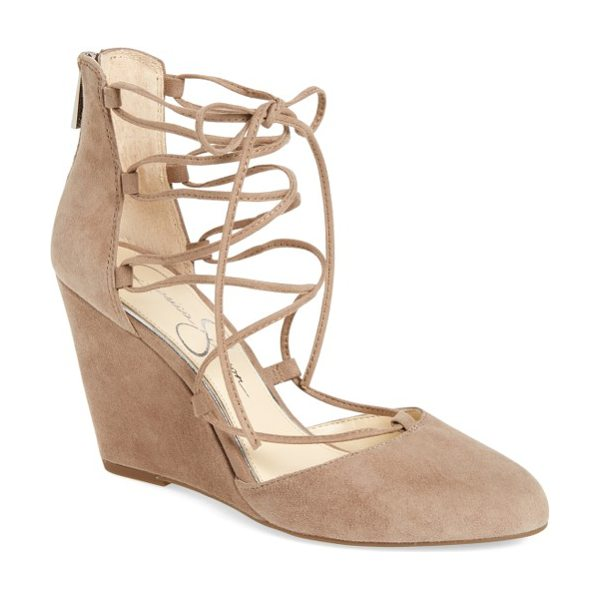 Jessica Simpson jacee lace-up wedge in warm taupe suede - A covered wedge heel and almond toe update the...