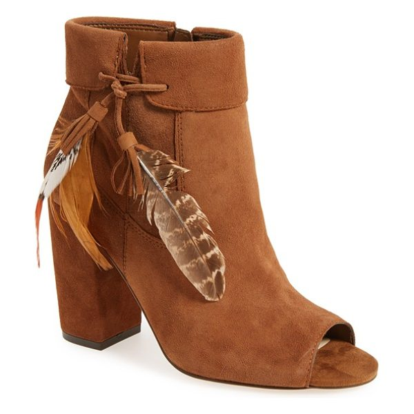 JESSICA SIMPSON 'kailey' feather charm peep toe bootie - A peep-toe bootie lifted by a chunky covered block heel...