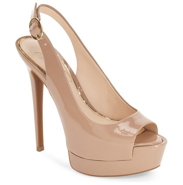 Jessica Simpson kane platform sandal in nude patent - A lofty platform extends the dynamic retro attitude of a...