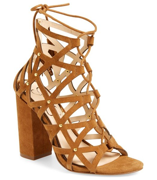 Jessica Simpson kariba cage sandal in dark brown - Polished studs and tasseled ghillie laces extend the...