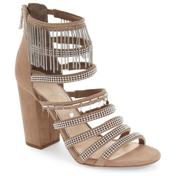 Jessica Simpson 'katalena' sandal in beige microsuede - Polished beads, dangling charms and chain-link tassels...