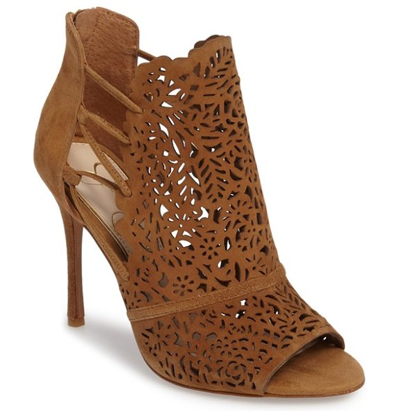 JESSICA SIMPSON keelin open toe bootie in honey brown suede - A luxe suede vamp laser cut in an intricate floral...
