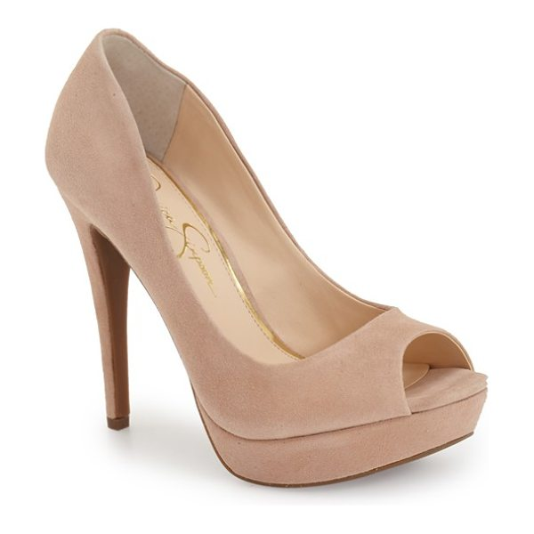 Jessica Simpson kelli platform pump in dark sandbar suede - A curvy topline accentuates the sultry appeal of this...