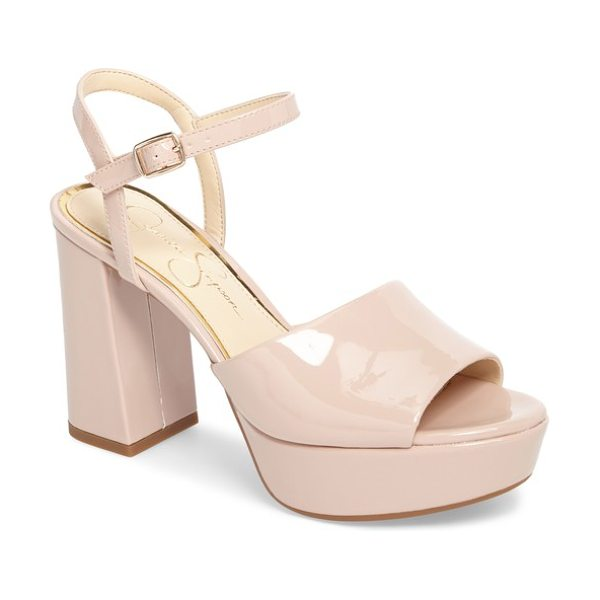 Jessica Simpson kerrick platform sandal in nude/ blush patent leather - The simple styling of this glam platform sandal makes it...
