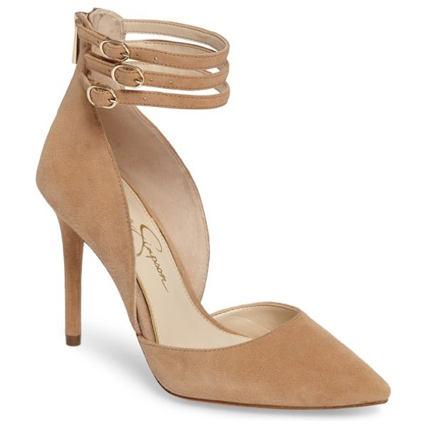 Jessica Simpson linnee ankle strap pump in buff - Slim laddered ankle straps give trend-savvy appeal to a...