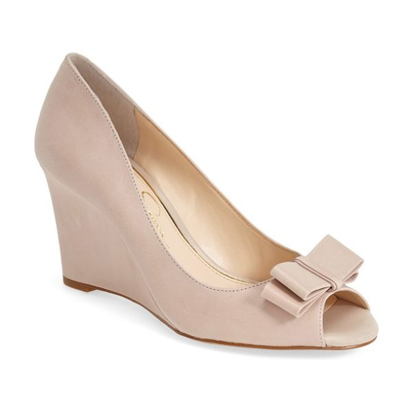 Jessica Simpson lyla wedge sandal in sandbar - A dainty double bow stands out at the peep toe of a...