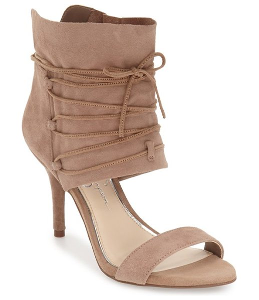 JESSICA SIMPSON 'madeena' ghillie wrap sandal in taupe suede - A velvety suede ankle wrap secured by ghillie-style...