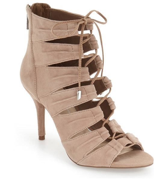 Jessica Simpson 'mahiri' ghillie open toe bootie in taupe suede - Ghillie-style lacing ladders up the front of this...