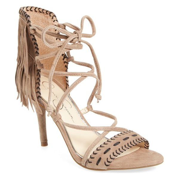 Jessica Simpson 'mareya' fringe ankle tie sandal in warm taupe suede - Contrasting topstitching and layers of fringe at the...