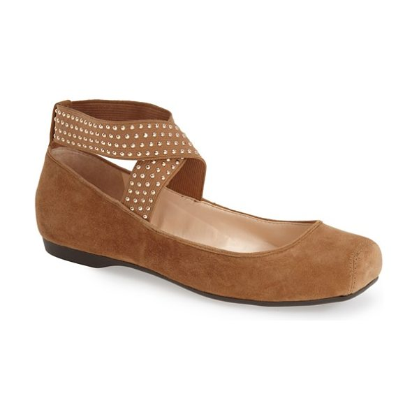 JESSICA SIMPSON marin ankle strap ballet flat in dakota tan suede - Polished studs gleam on the elasticized straps of a...