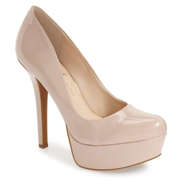Jessica Simpson 'meave' platform pump in powder blush patent - A chunky platform sole gives rise to a round toe and a...