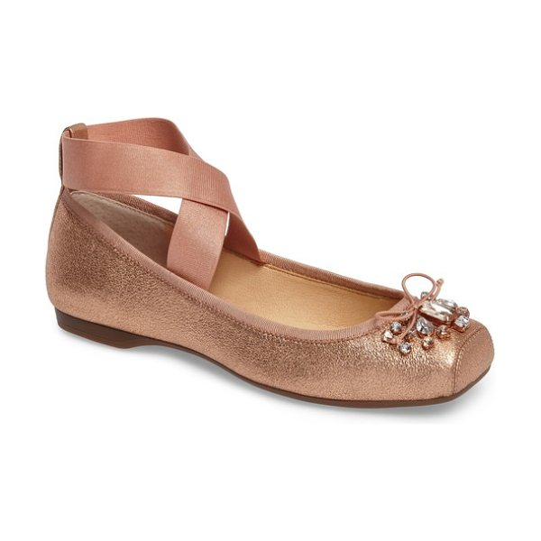 Jessica Simpson miaha embellished blunt toe flat in penny leather - Shimmery fabric and brilliant crystals bring sparkle and...