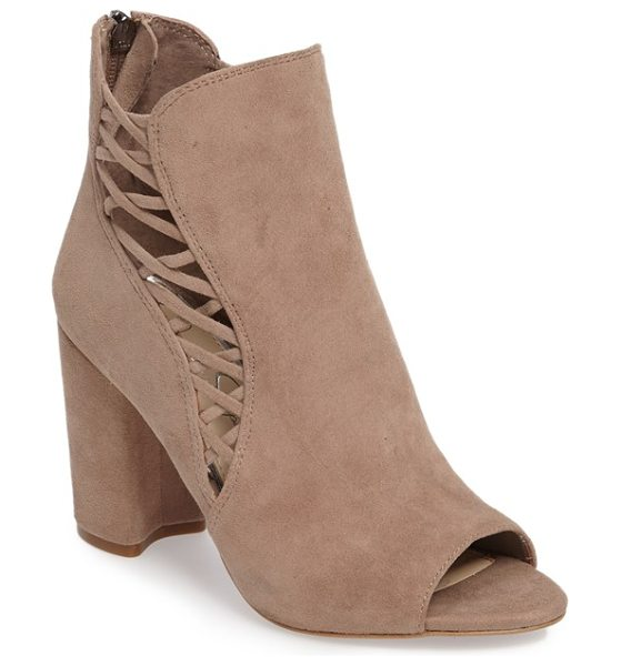 Jessica Simpson millo open toe bootie in warm taupe suede - Slender suede lacing crisscrosses up the split shaft of...