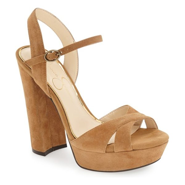 Jessica Simpson 'naidine' platform sandal in honey brown suede - A towering heel and chunky platform further the retro...