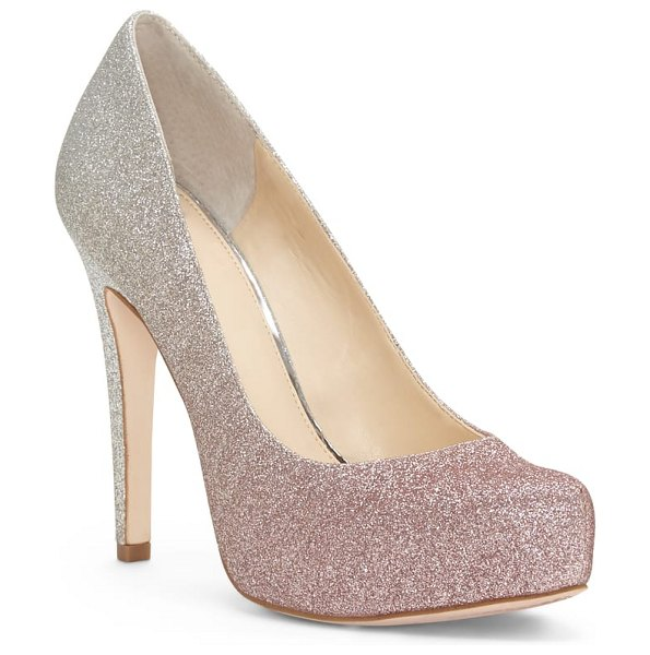 Jessica Simpson parisah glitter platform pump in pink - Glittery fabric brings luster and texture to a platform...