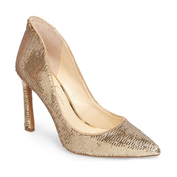 JESSICA SIMPSON parma pointy toe pump in gold-karat g sequin - Refresh your look for any special occasion with this...