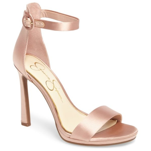Jessica Simpson plemy sandal in nude blush satin - Lustrous satin elevates a streamlined evening pump...