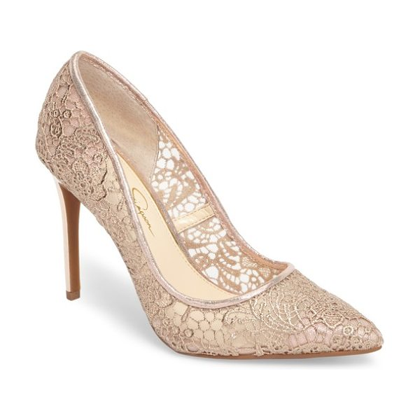Jessica Simpson praylee2 paisley lace pump in champagne satin - Paisley-patterned Alencon lace wraps a pointy-toe pump...
