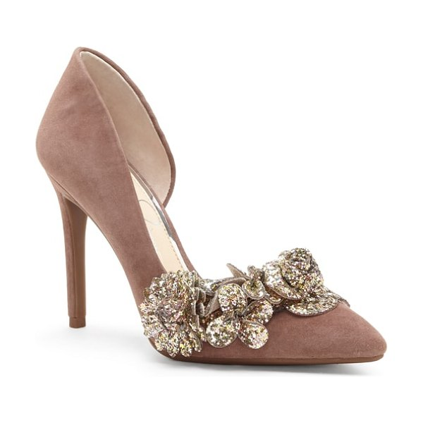 Jessica Simpson pruella pump in pink - Glittered blooms sweep across the pointed toe of an...