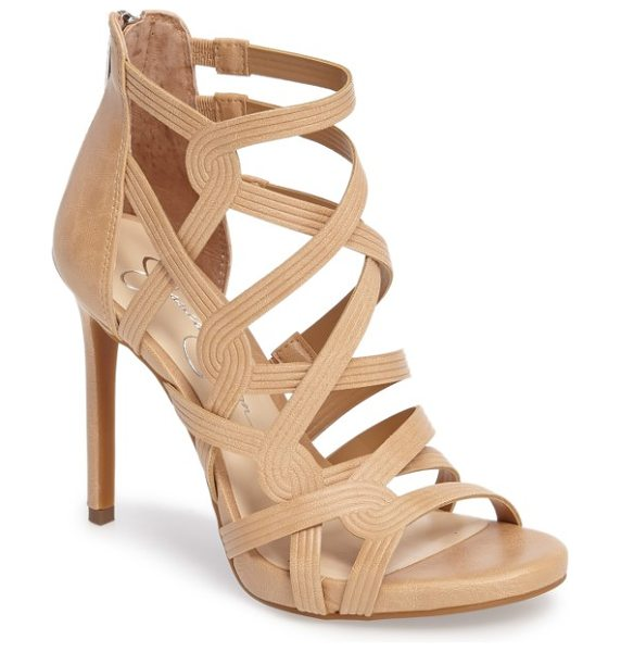 Jessica Simpson rainah sandal in buff faux leather - Cord-embossed cage straps corset your foot in a sky-high...