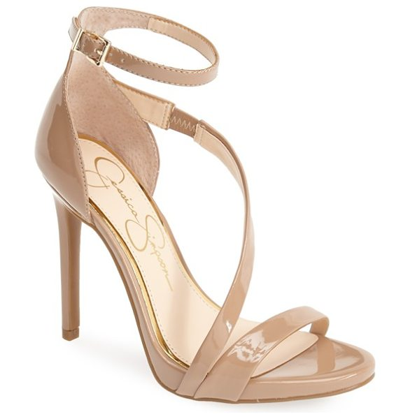 Jessica Simpson rayli patent ankle strap sandal in nude - Liquid-shine patent highlights the feminine, curved...