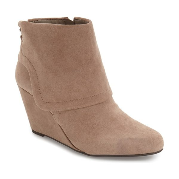 Jessica Simpson 'reaca' cuffed wedge bootie in warm taupe suede - An oversized turned-down cuff with lacing up the back...