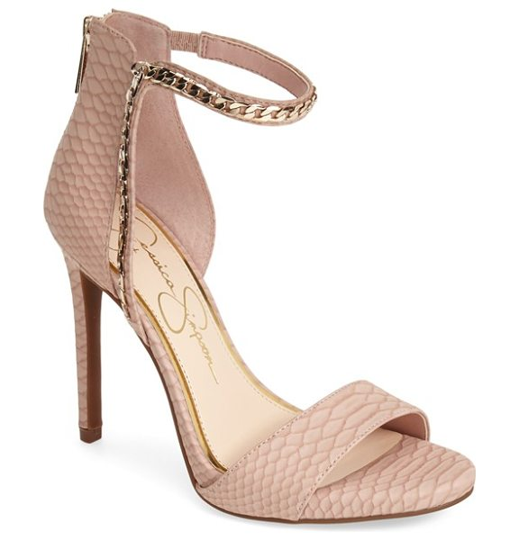 Jessica Simpson redith chain embellished sandal in dusty rose - Tonal chain trim traces the asymmetrical ankle strap of...