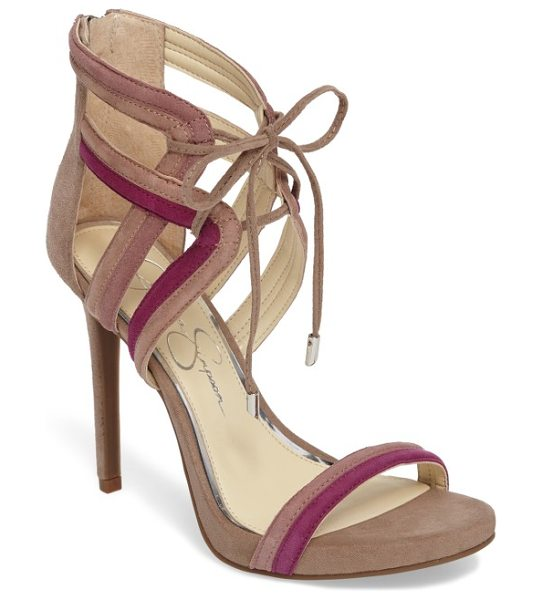 Jessica Simpson rensa sandal in warm taupe c - Slender ties cinch the cage straps of a statement sandal...