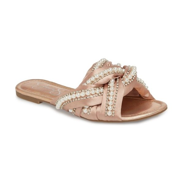 JESSICA SIMPSON rhondalin embellished slide sandal w(omen() - Interwoven satin straps simply crowded with lustrous...