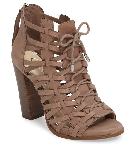 Jessica Simpson riana woven leather cage sandal in warm taupe nubuck leather - Intricately woven leather straps and ghillie-style...