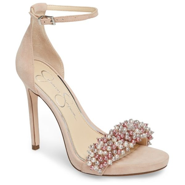 Jessica Simpson rusley imitation pearl sandal in nude blush suede - Dense clusters of imitation pearls crowd the toe strap...