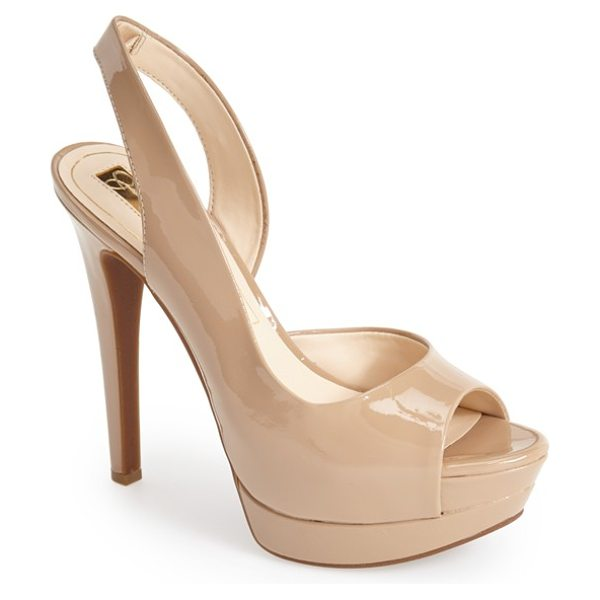 Jessica Simpson 'sabella' slingback half d'orsay sandal in nude patent - A flirty peep toe and cutaway topline style a...