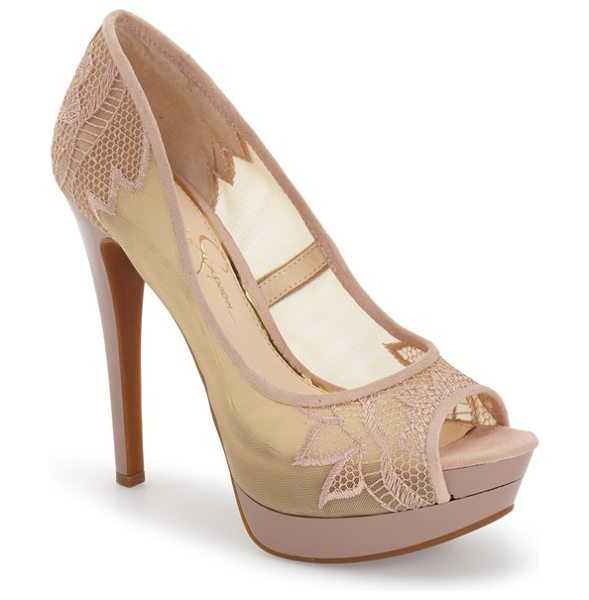 Jessica Simpson saidey open toe platform pump in sheer nude microsuede - Embroidered mesh lends a lacy look to an open-toe,...