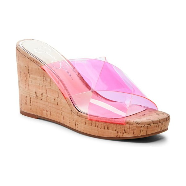 Jessica Simpson seena platform wedge sandal in pink - Transparent straps provide a modern contrast to the cork...