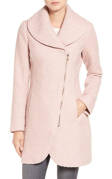 Jessica Simpson shawl collar coat in rose - A rounded shawl collar tops this figure-flattering...