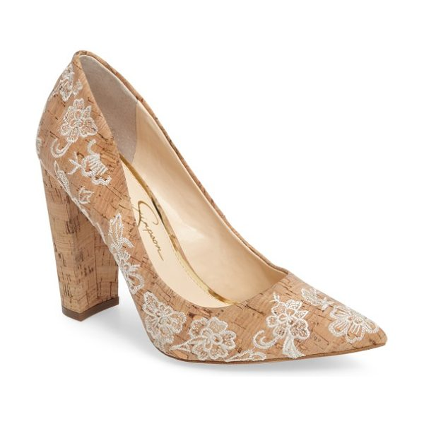 Jessica Simpson tanysha pointy toe pump in natural cream nubuck leather - A trend-right pointy toe and a tall block heel define...