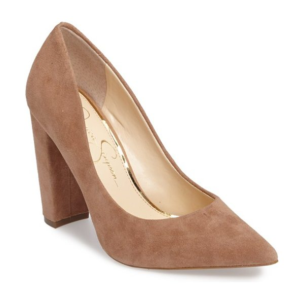 Jessica Simpson tanysha pointy toe pump in mauve suede - A trend-right pointy toe and a tall block heel define...