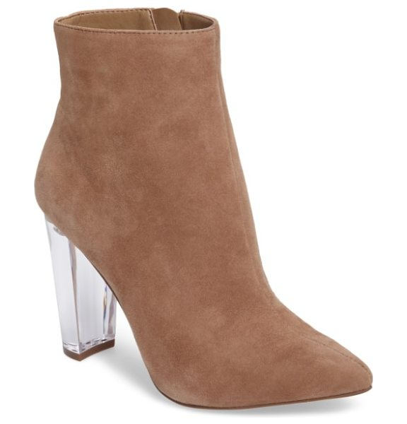 Jessica Simpson teddi crescent-heel bootie in fawny suede - A lightly tapered crescent heel adds towering lift to a...