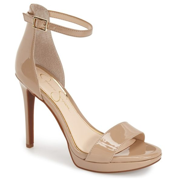 Jessica Simpson vaile sandal in nude patent leather - A slender ankle strap tops an on-trend minimalist sandal...