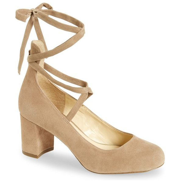 JESSICA SIMPSON venya wraparound pump - A round-toe suede pump on a wrapped block heel sets the...