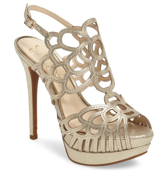 Jessica Simpson weslynn cutout platform sandal in pale gold suede - Deco-inspired cutouts arc and loop up the front and...